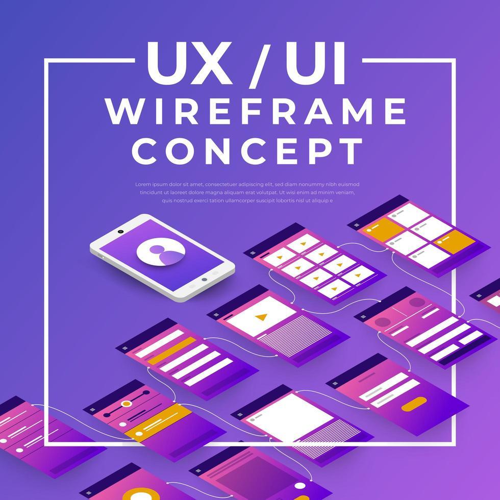 ux ui draadframe concept vector