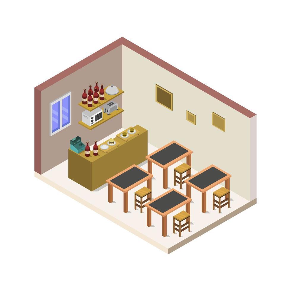 isometrisch restaurant op witte achtergrond vector