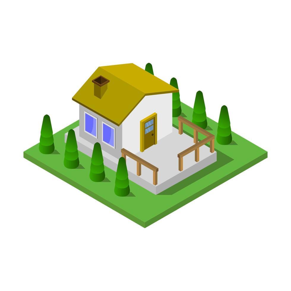 bruin isometrisch huis op witte achtergrond vector