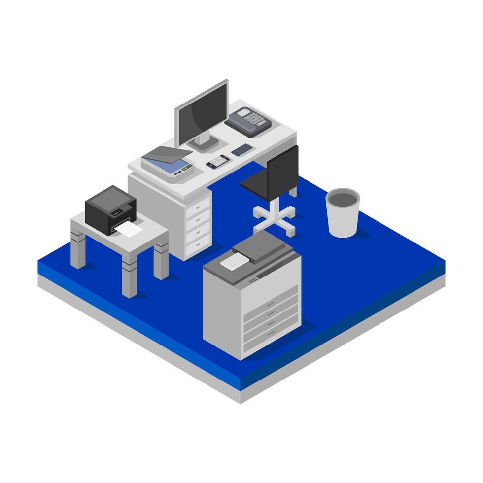 isometrisch bureau op witte achtergrond vector