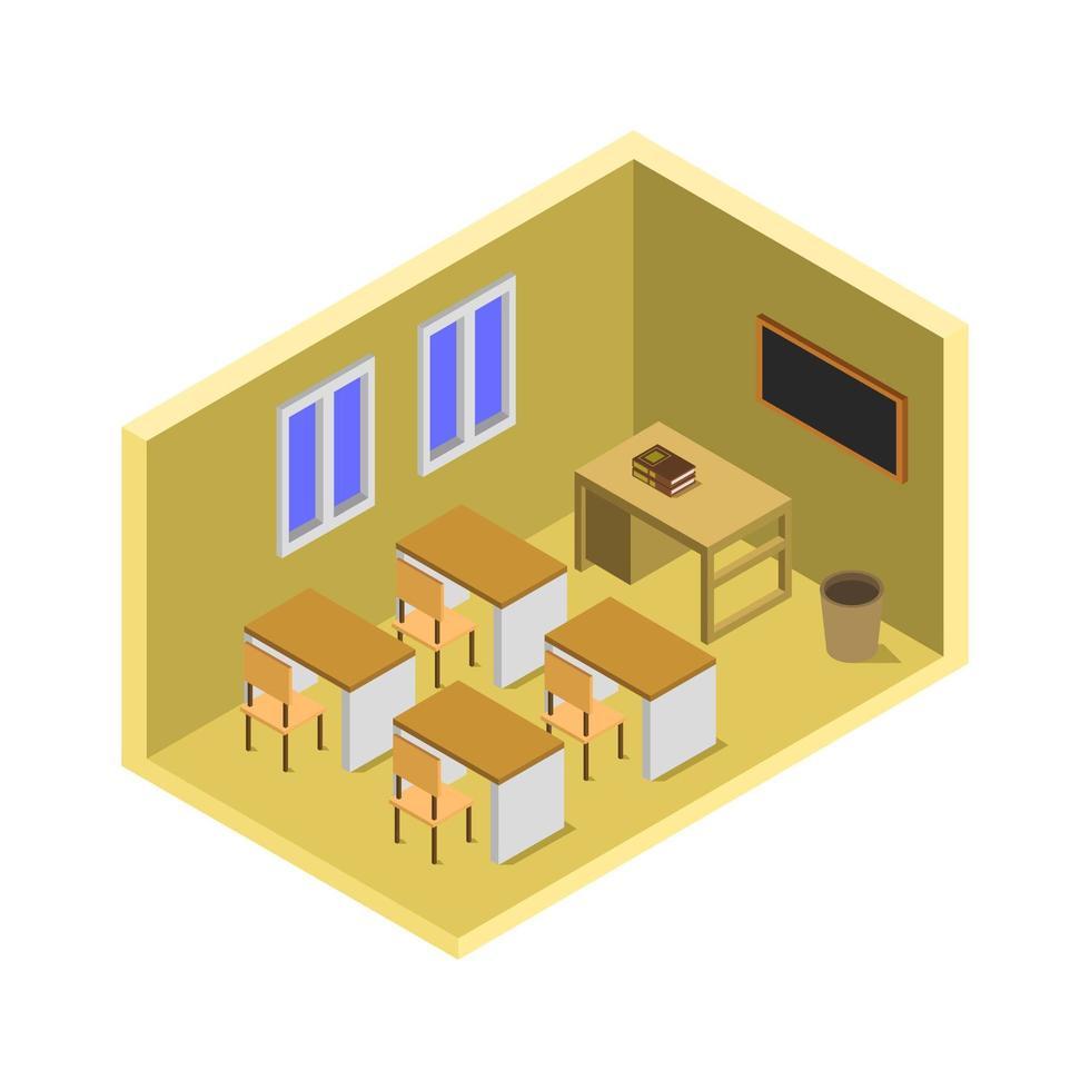 isometrische schoolkamer vector