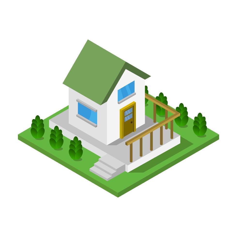isometrische huis op witte achtergrond vector