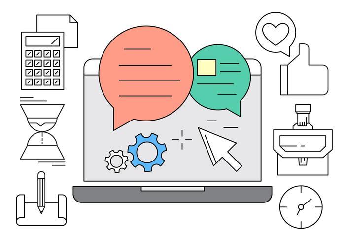 Online Office-iconen vector