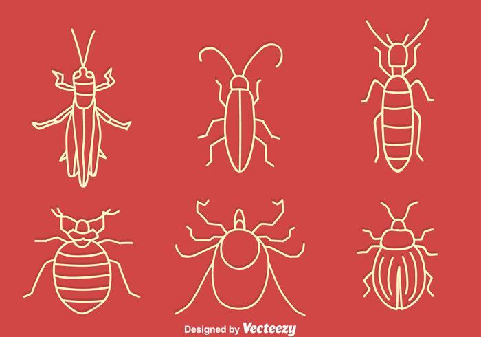 Handgetekende Kleine Insect Vector Set