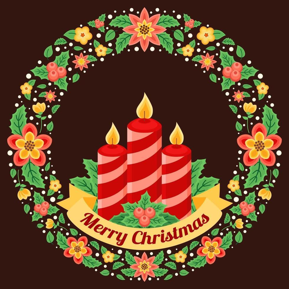 kerstkrans met kaars illustratie vector