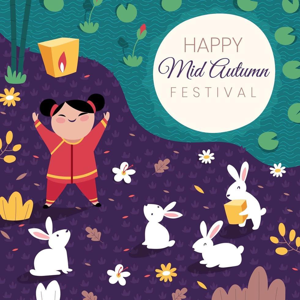 kind dat medio herfstfestival viert vector