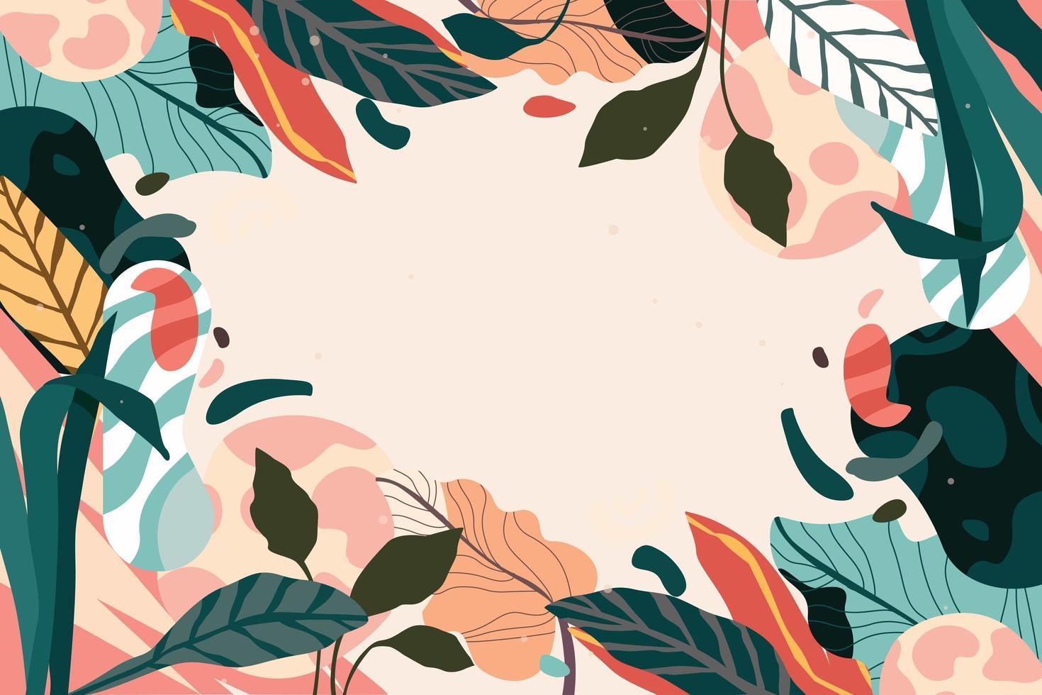 kleurrijke achtergrond van gebladerte en bladeren vector