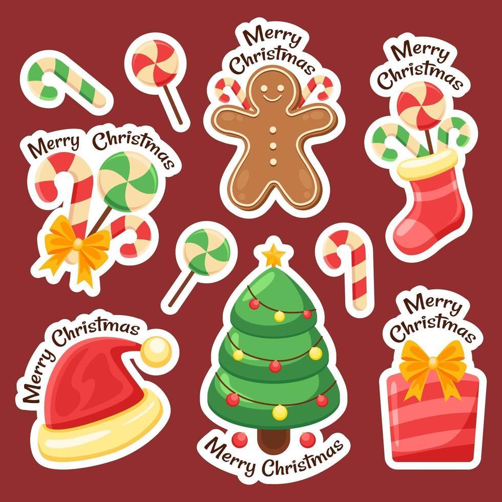 kleurrijke kerstartikelen stickercollectie vector