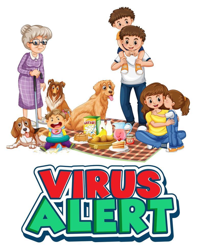 viruswaarschuwing belettering met een gezin vector