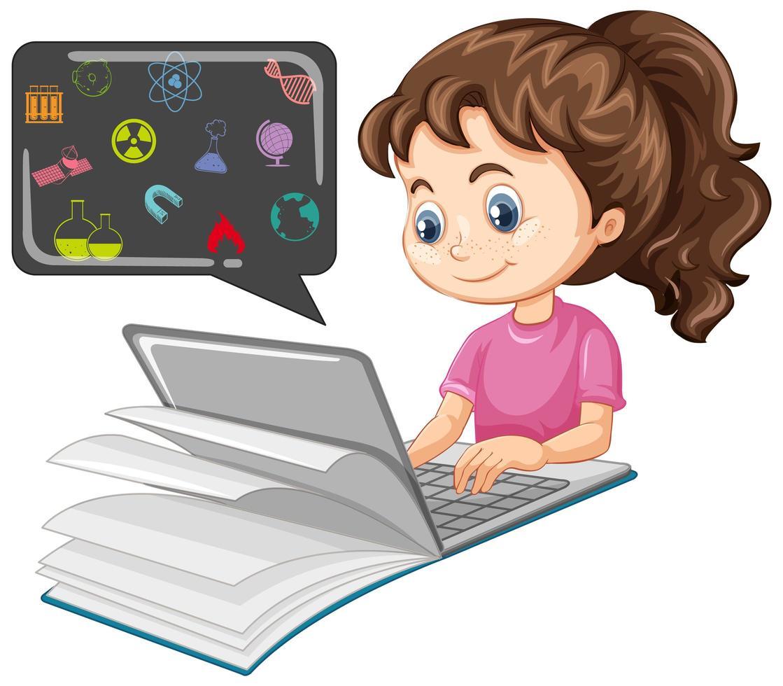 meisje studeert en onderzoekt op de laptop vector