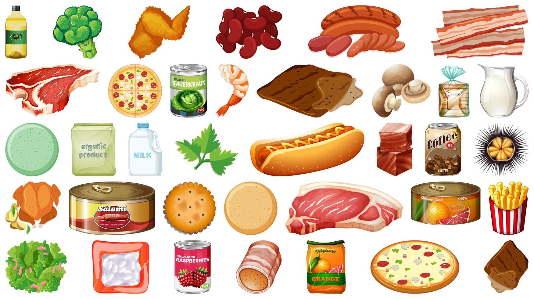 boodschappen en voedselreeks produceren vector