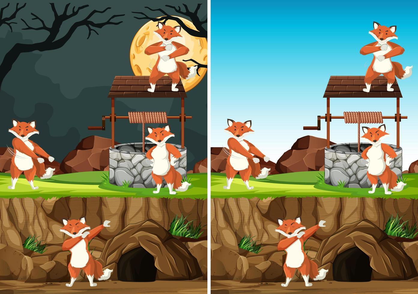 wilde vossen in verschillende poses buitenshuis vector