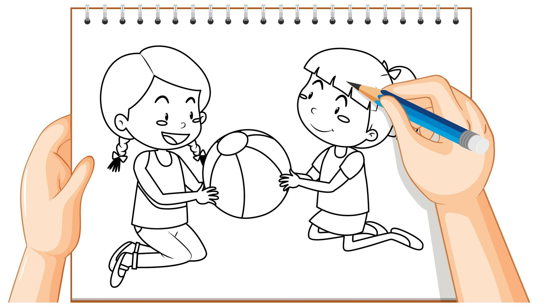 doodle van twee meisjes die met een bal spelen vector