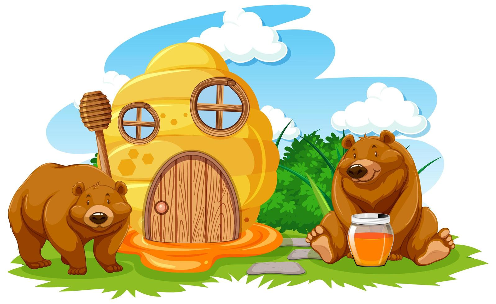 cartoon honingraat huis met twee beren vector