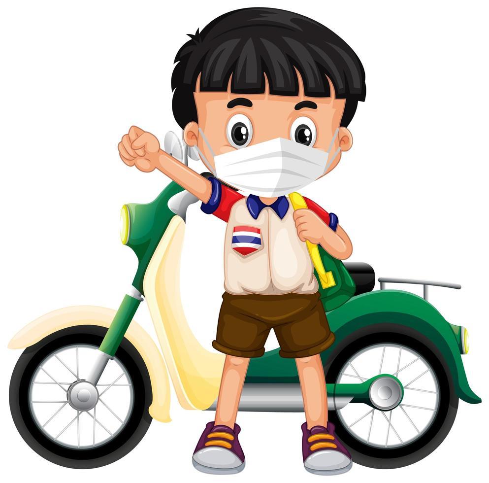 Thaise jongen die een gezichtsmasker met een scooter draagt vector
