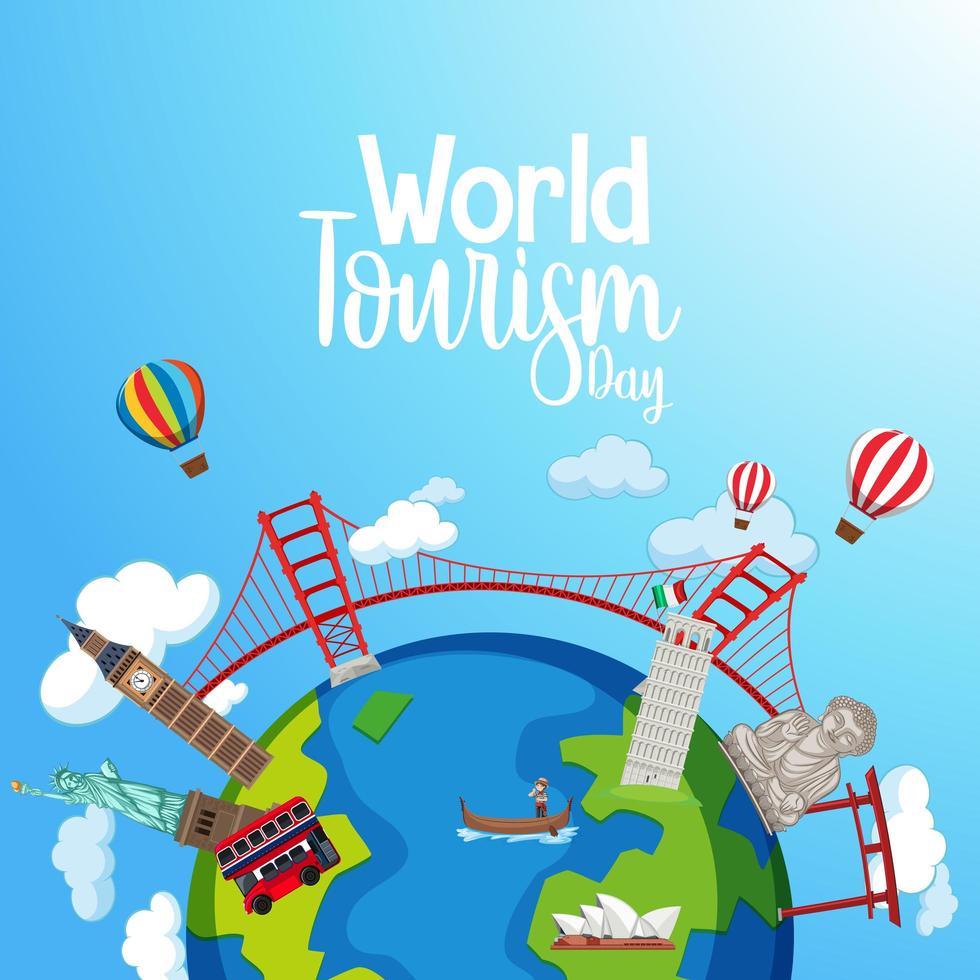 wereldtoerisme dag viering banner vector