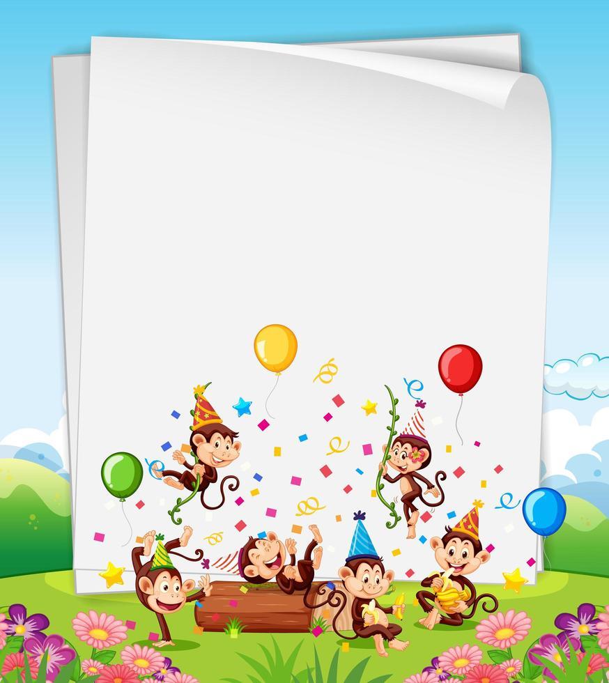 apen feestende kaart of sjabloon voor spandoek vector