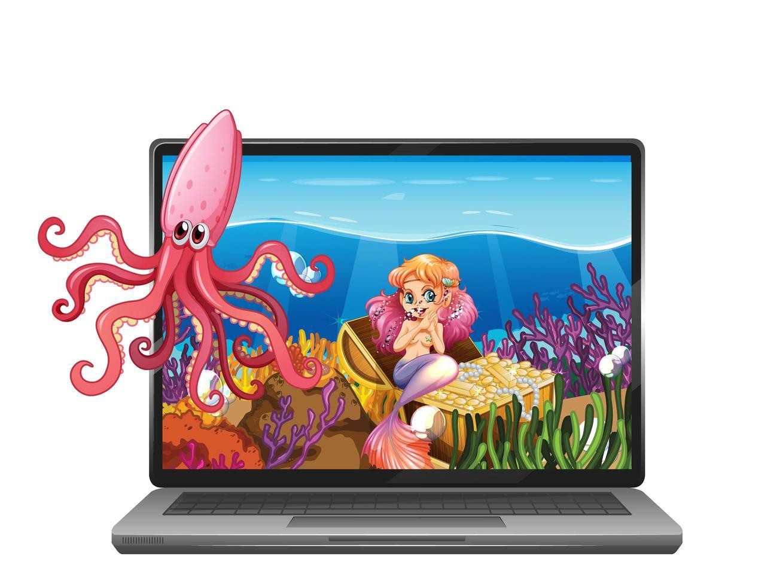 laptop met onderwaterscène op het scherm vector