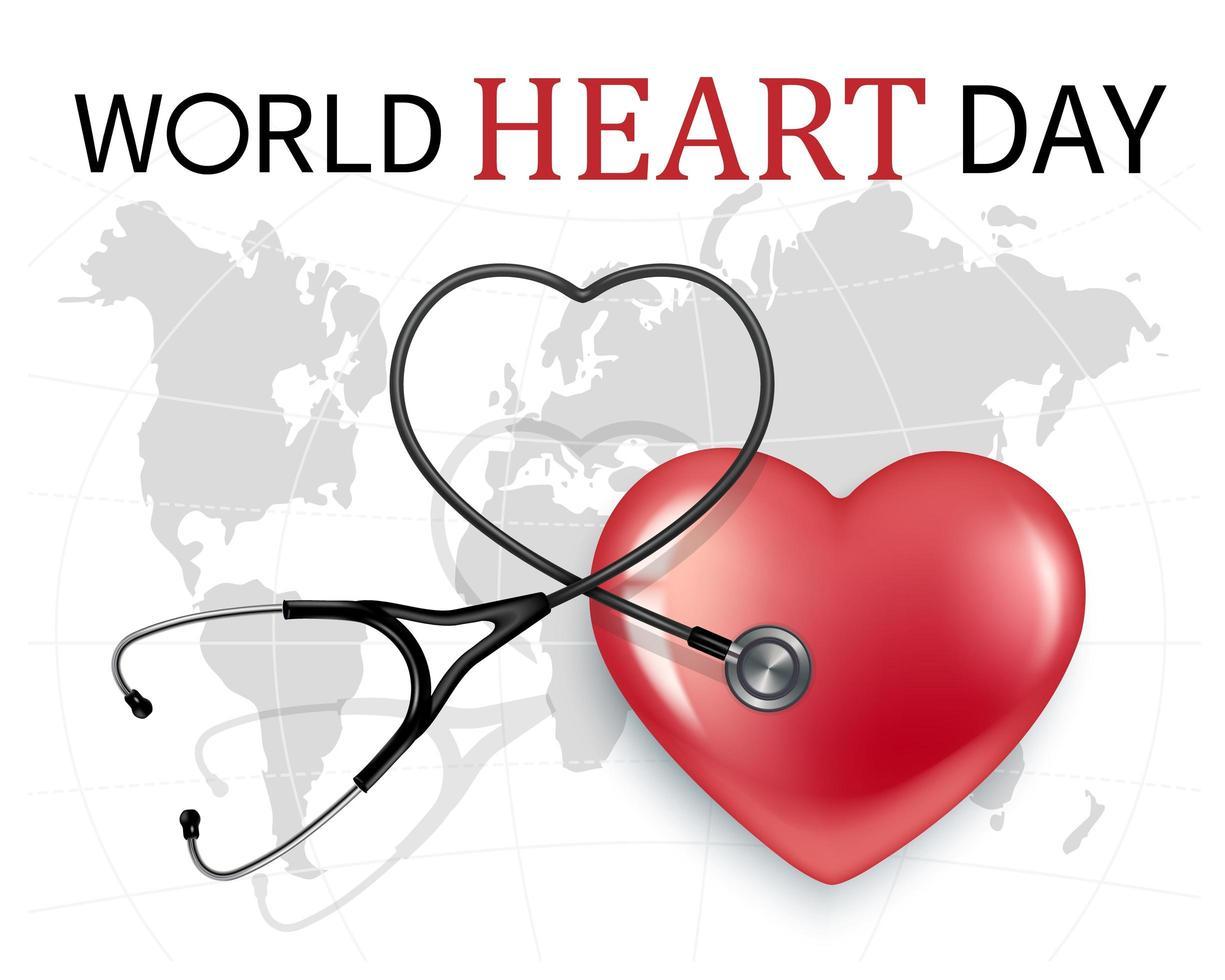 wereld hart dag banner vector
