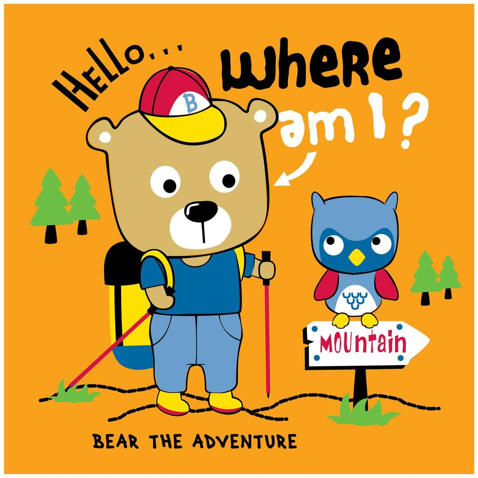 beer wandelen in het bos vector