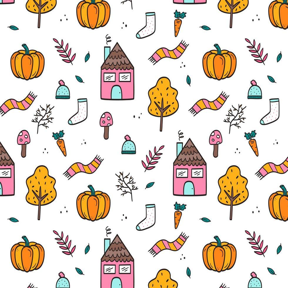 handgetekende herfst naadloze patroon behang vector
