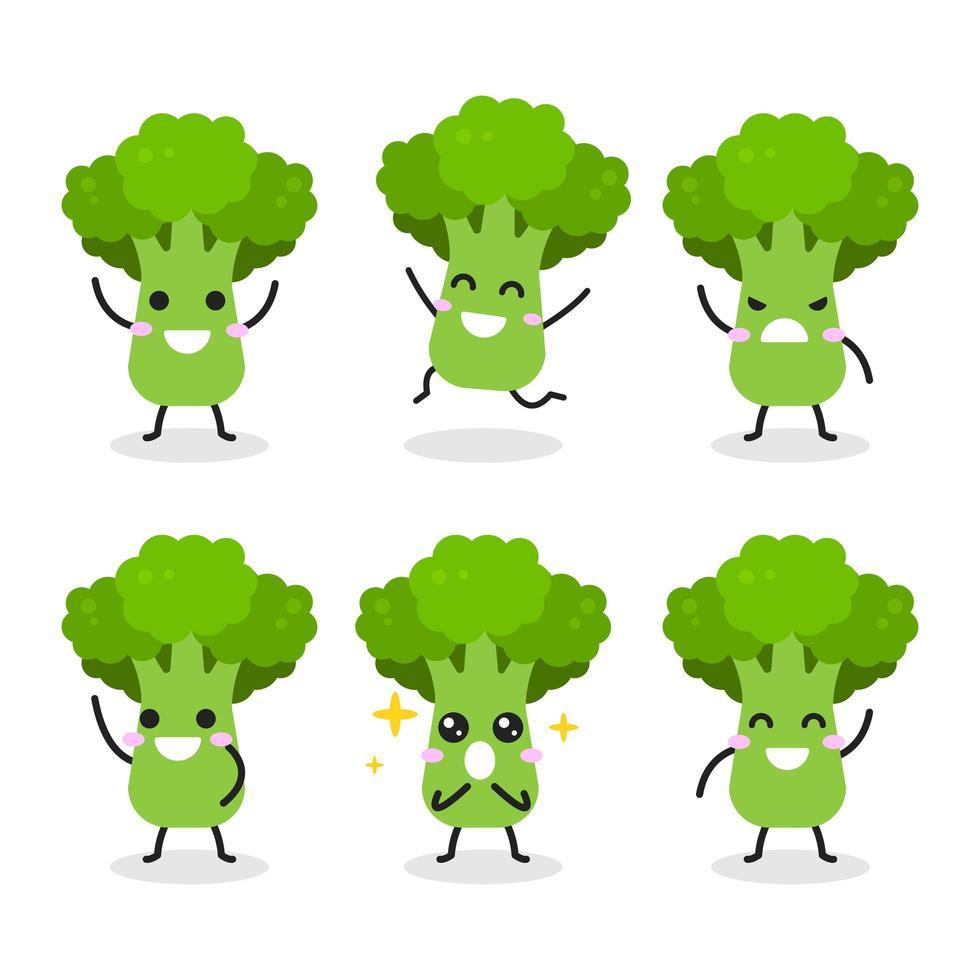 verzameling van schattige broccoli-personages in verschillende poses vector