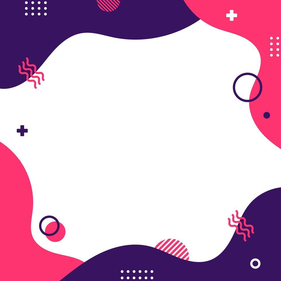 kleurrijke memphis stijlsjabloon in vierkant formaat. vector