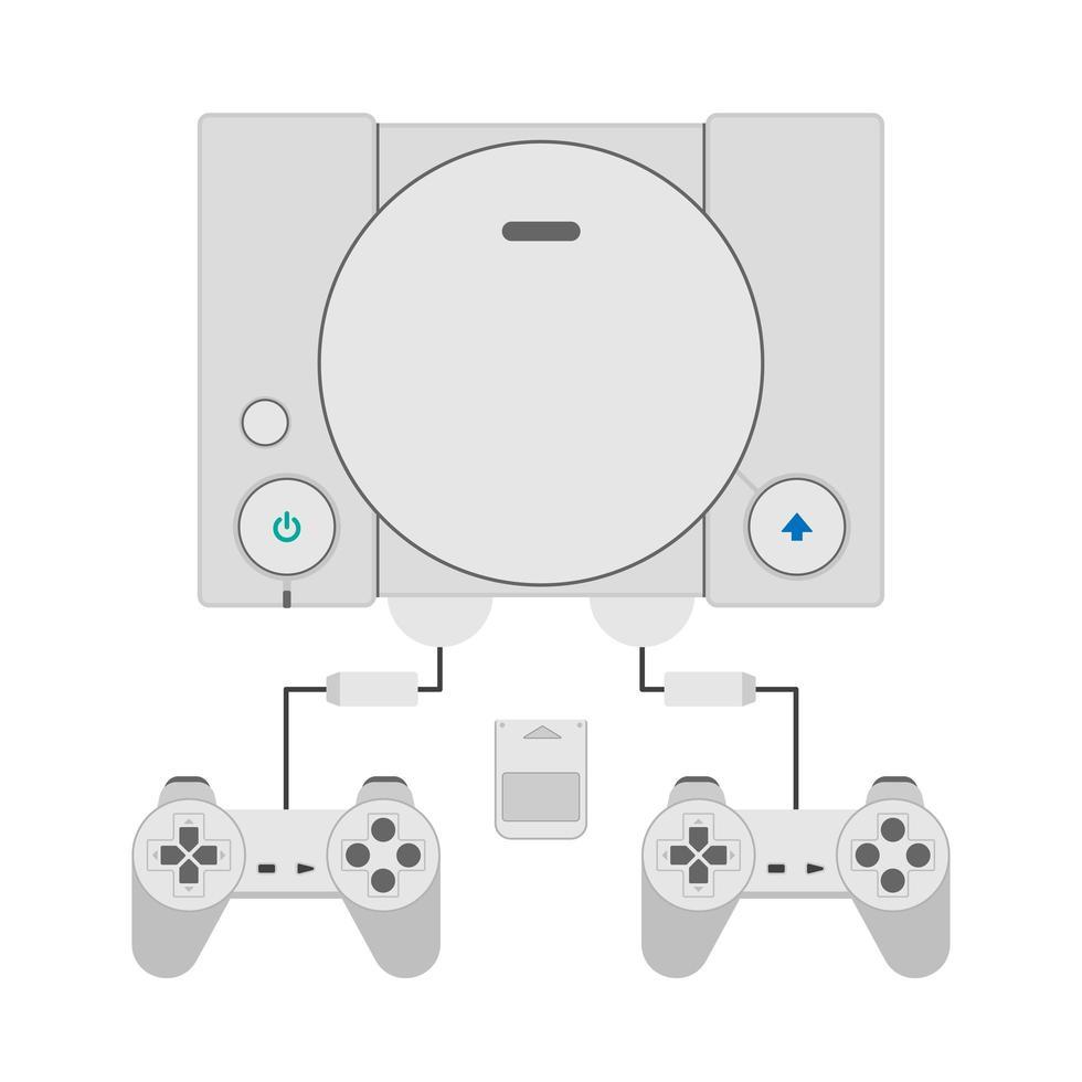 retro game console met controller. vector