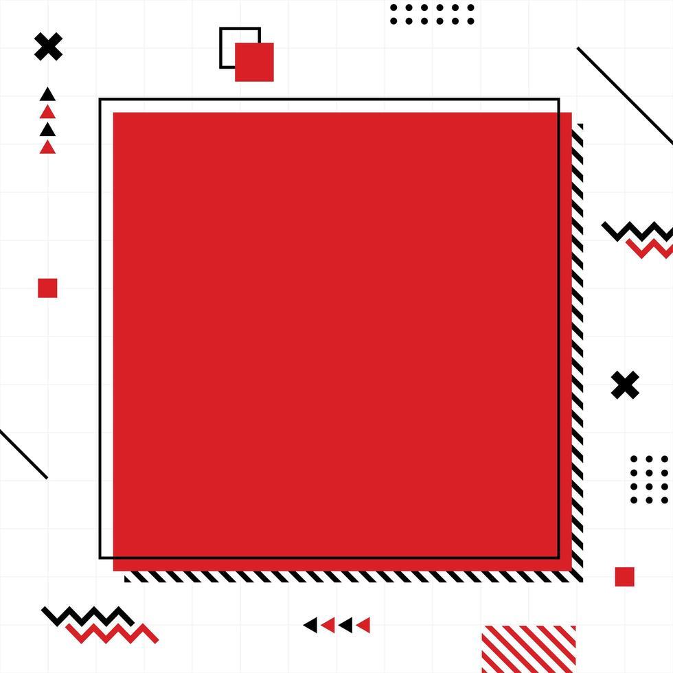 rode memphis-stijl in vierkant formaat. vector