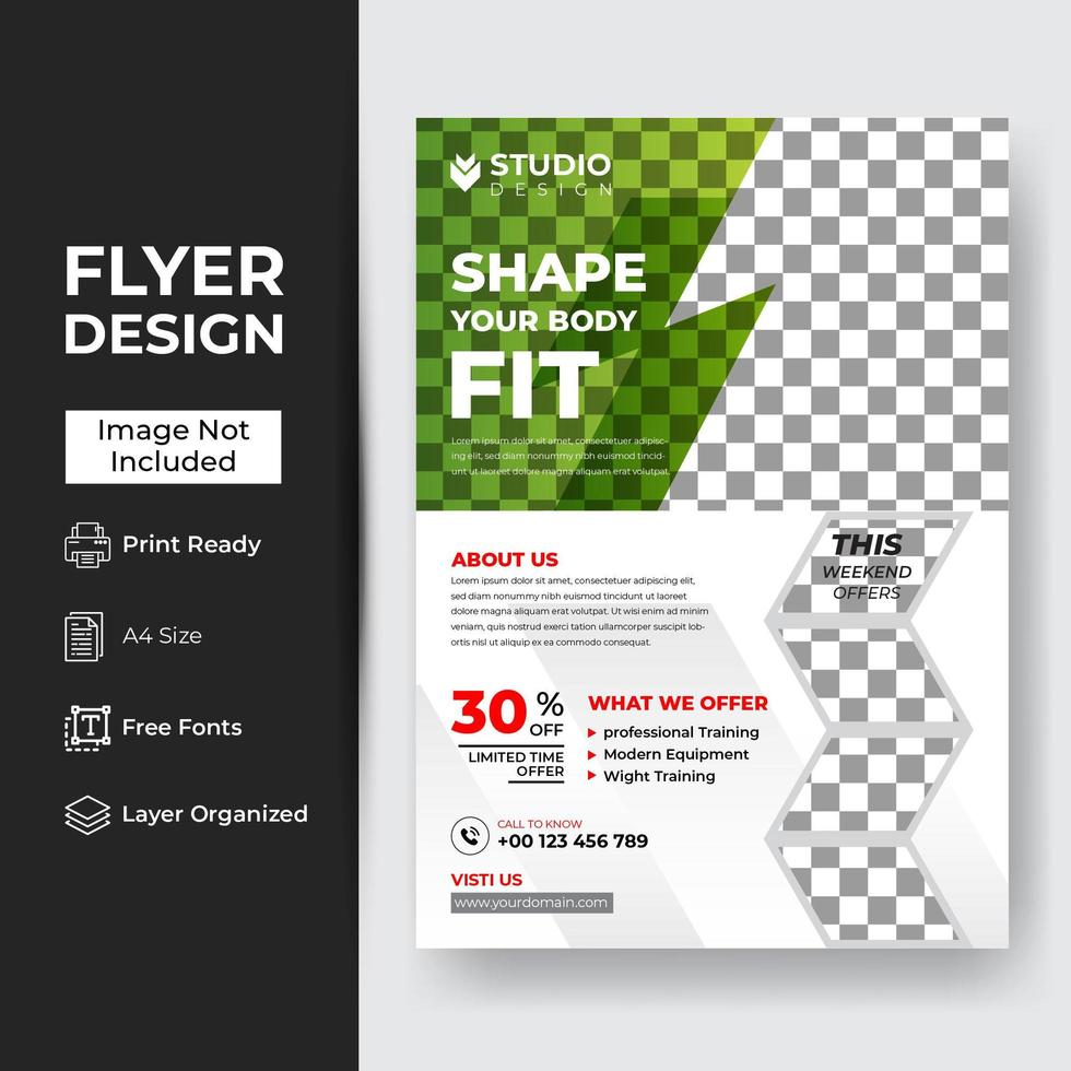 fitness gym flyer vector