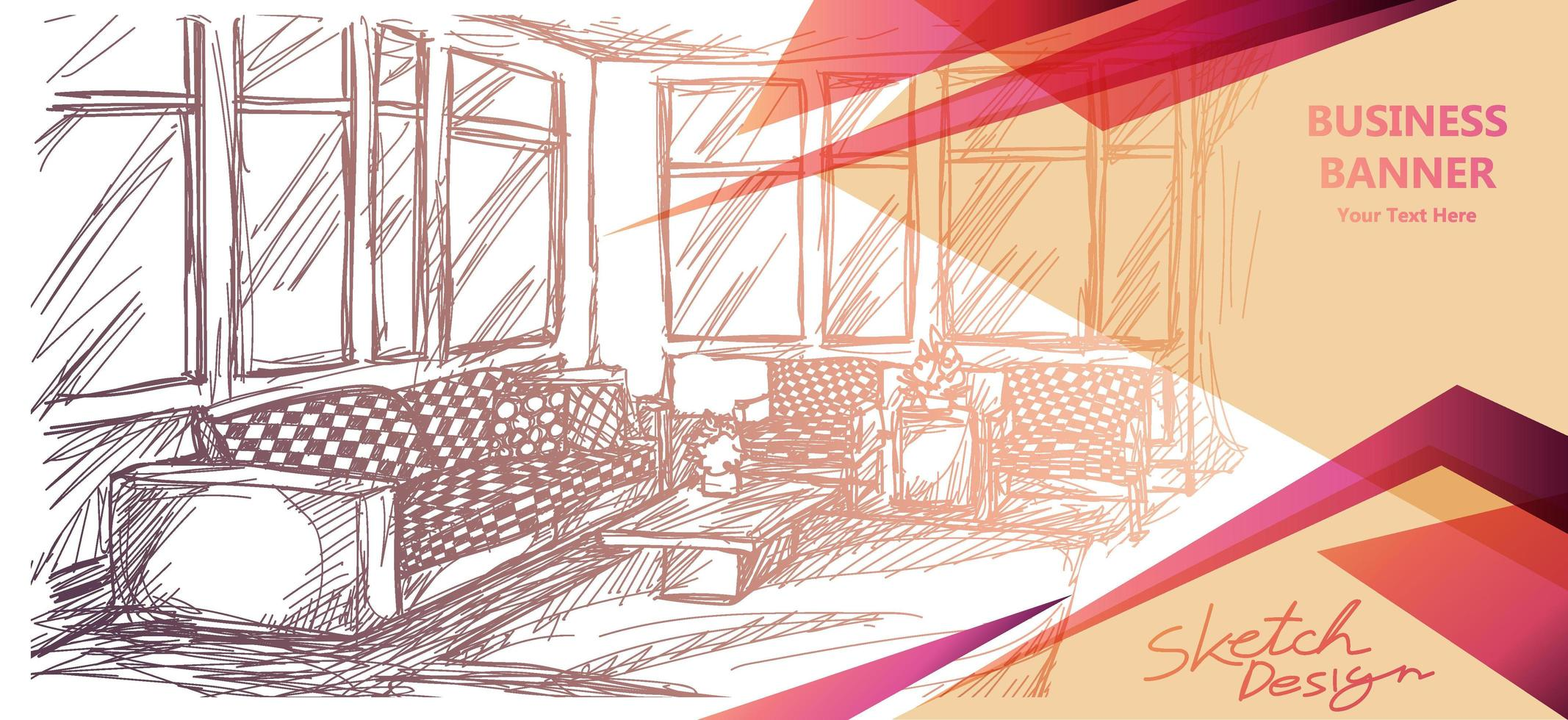 interieur kamer schets bannerontwerp vector