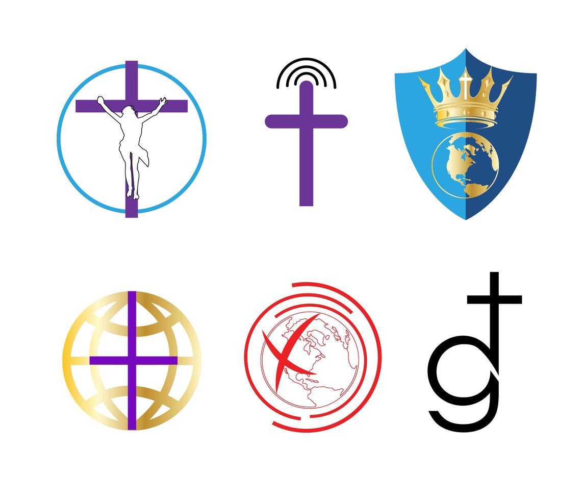 set van religieuze christendom iconen vector