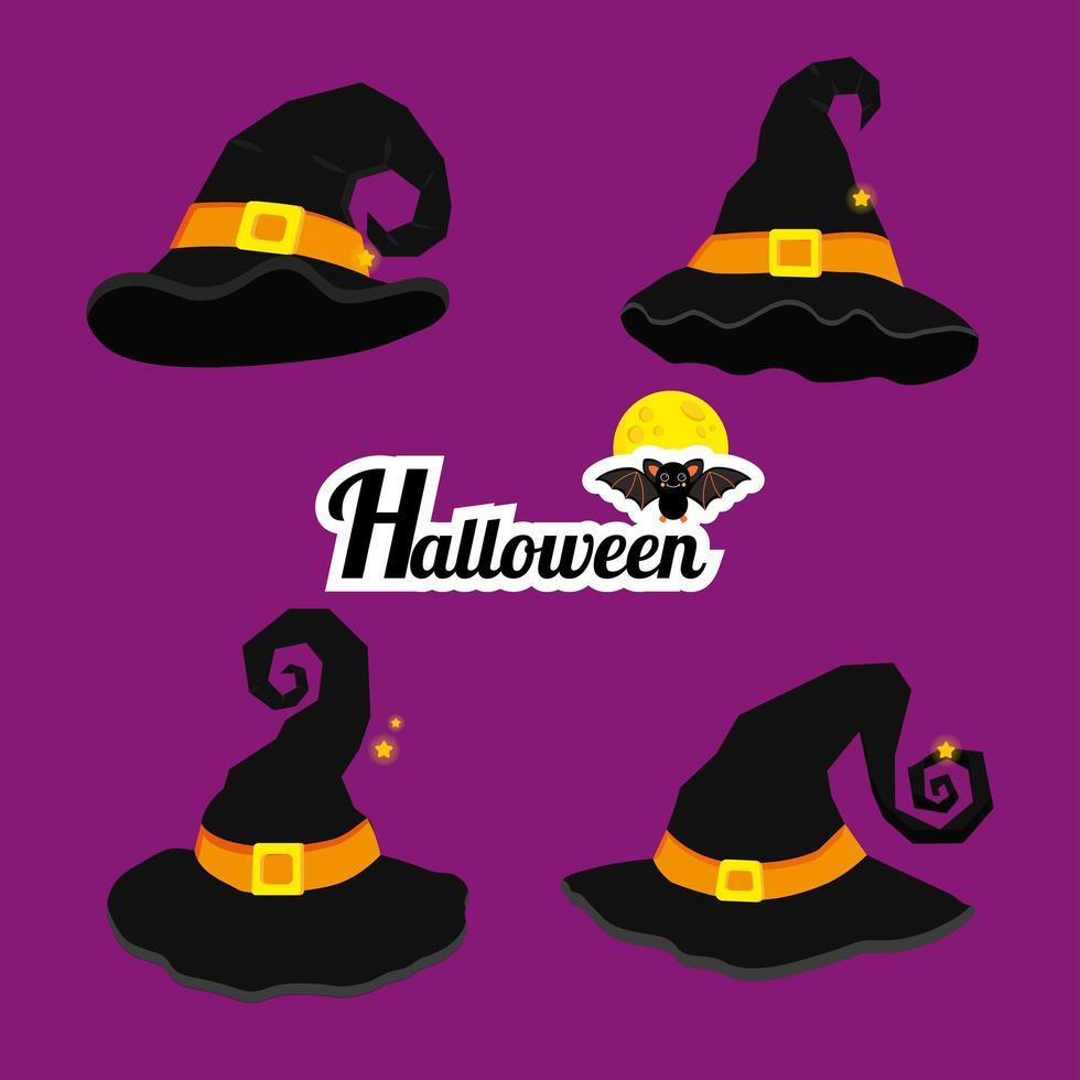 cartoon heksenhoeden voor halloween-viering vector