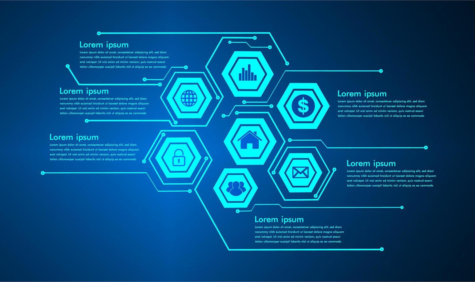 tekstvak infographic, internet of things cybertechnologie vector