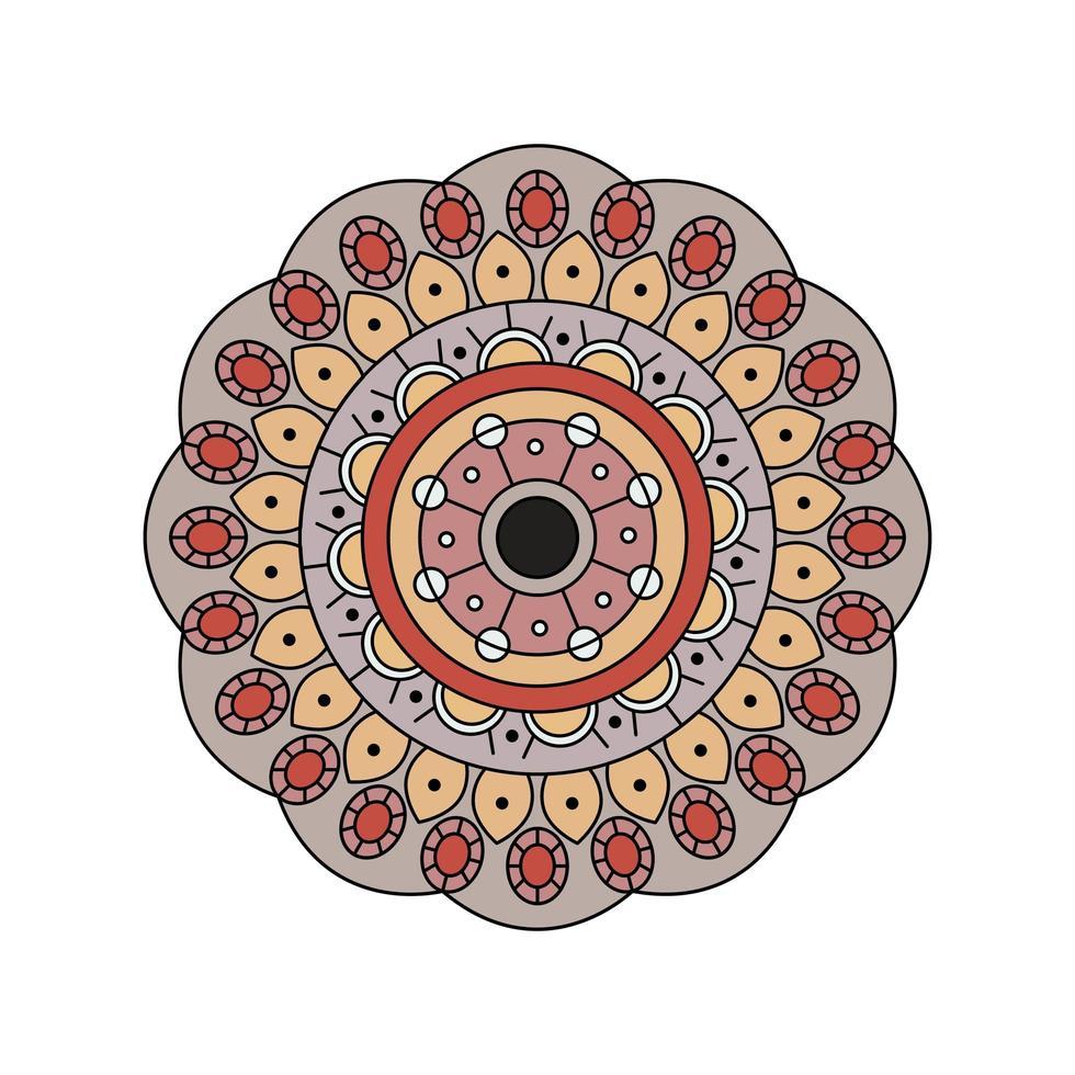 Indiase gedempte kleur mandala ontwerp vector