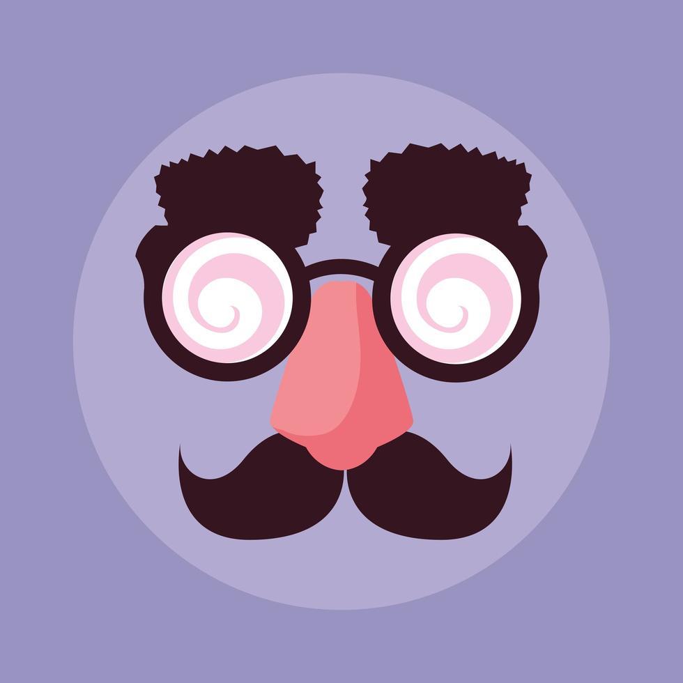 april dwazen dag met gekke gezichtsaccessoires vector