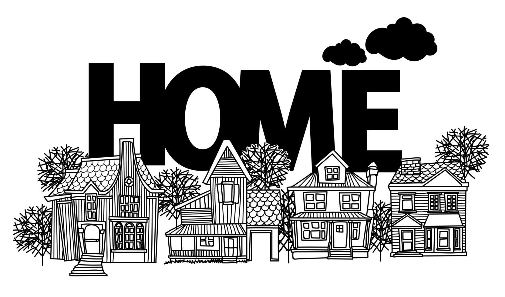 huis tekenen en schetsen vector