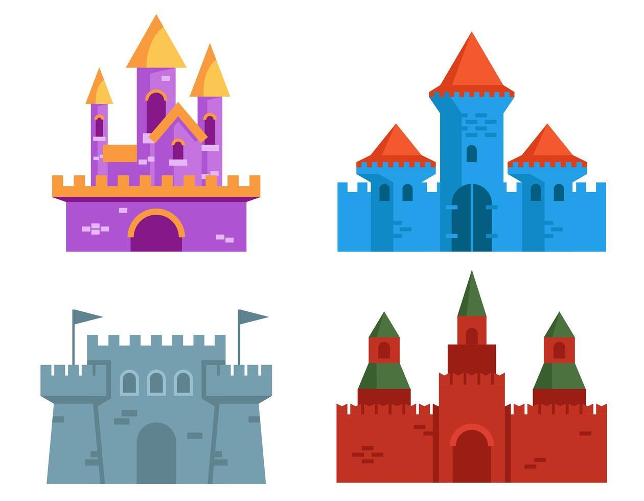 set van verschillende kastelen. vector