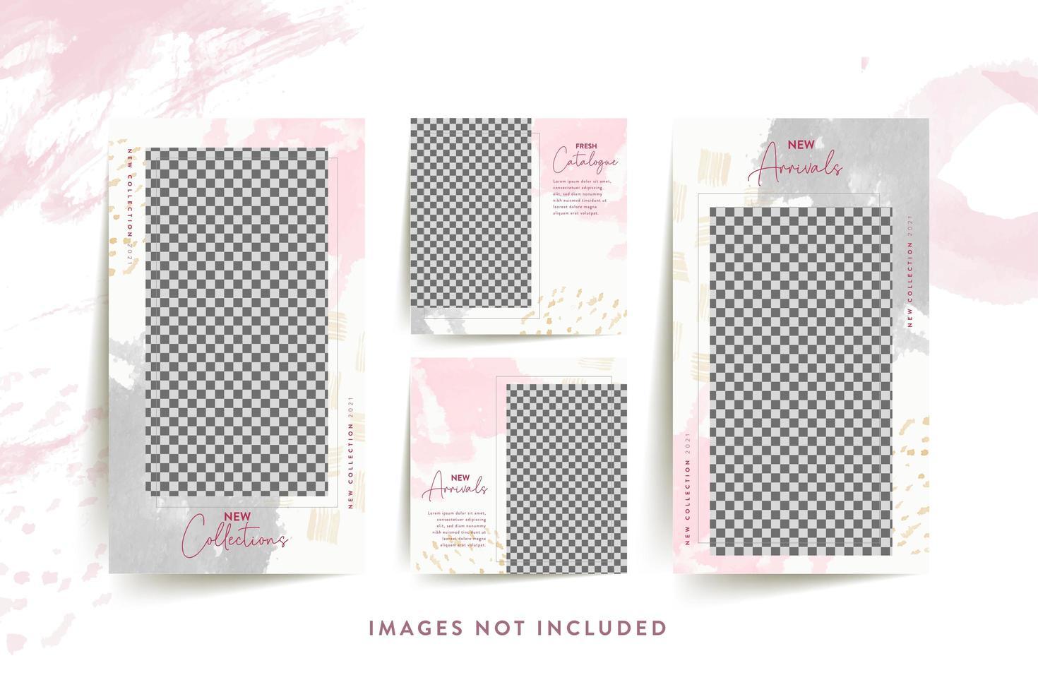 mode vrouw sociale media sjabloon met abstract roze vector