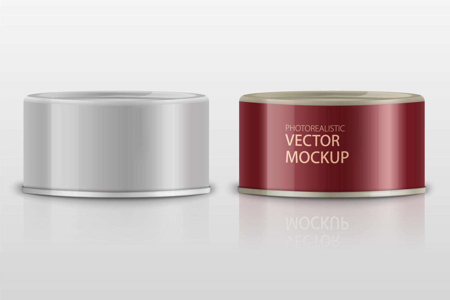 low-profile realistische tonijnblikken op wit vector
