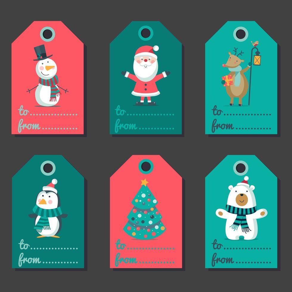 kerst kleurrijke etiketten, tags vakantie set vector