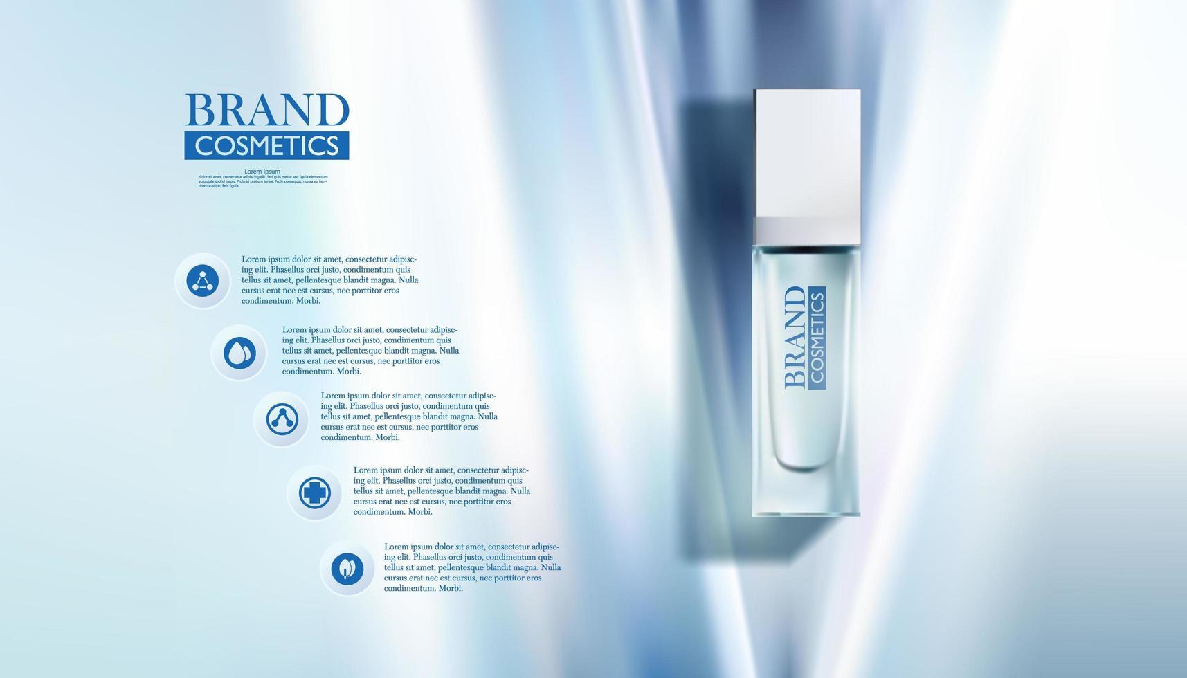 cosmetische fles op abstracte blauwe achtergrond vector
