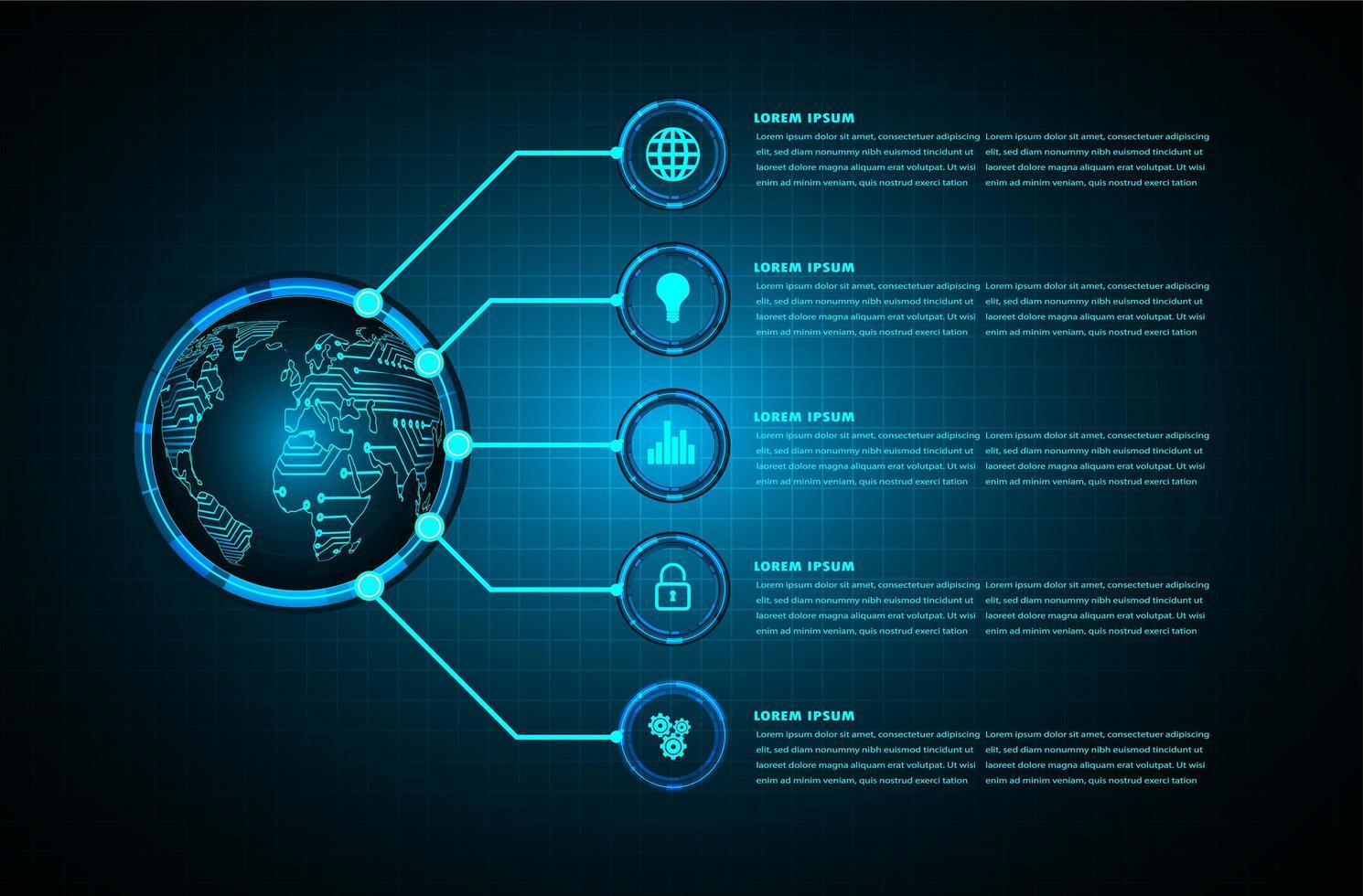 wereld binaire printplaat toekomstige technologie vector