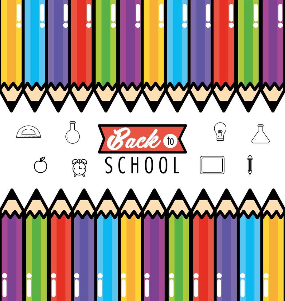 terug naar schoolontwerp als achtergrond met potloden vector