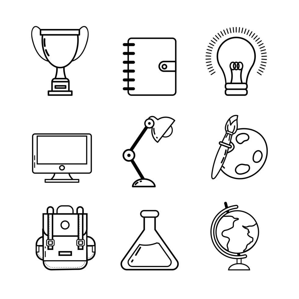 terug naar school elementen pictogramserie vector