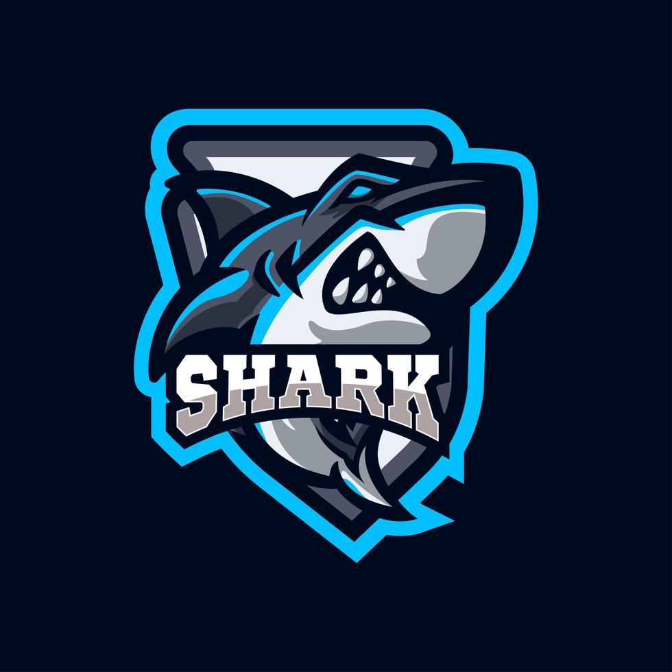haai mascotte logo sportstijl vector