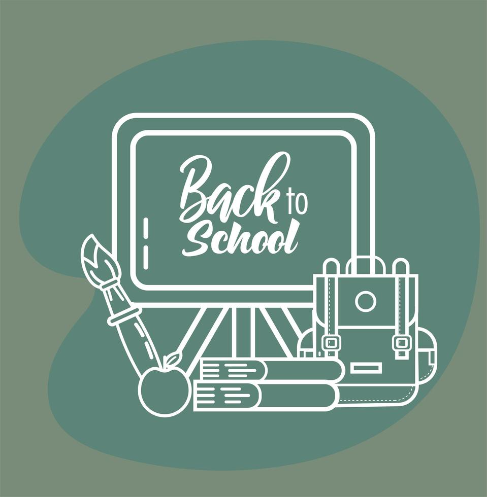 schoolbord en onderwijsbenodigdheden vector