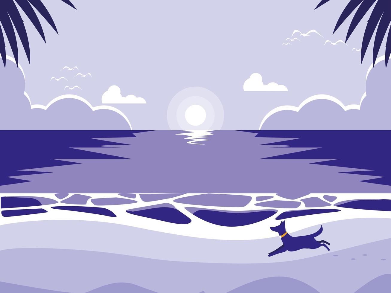 tropisch strand met hondmascotte vector