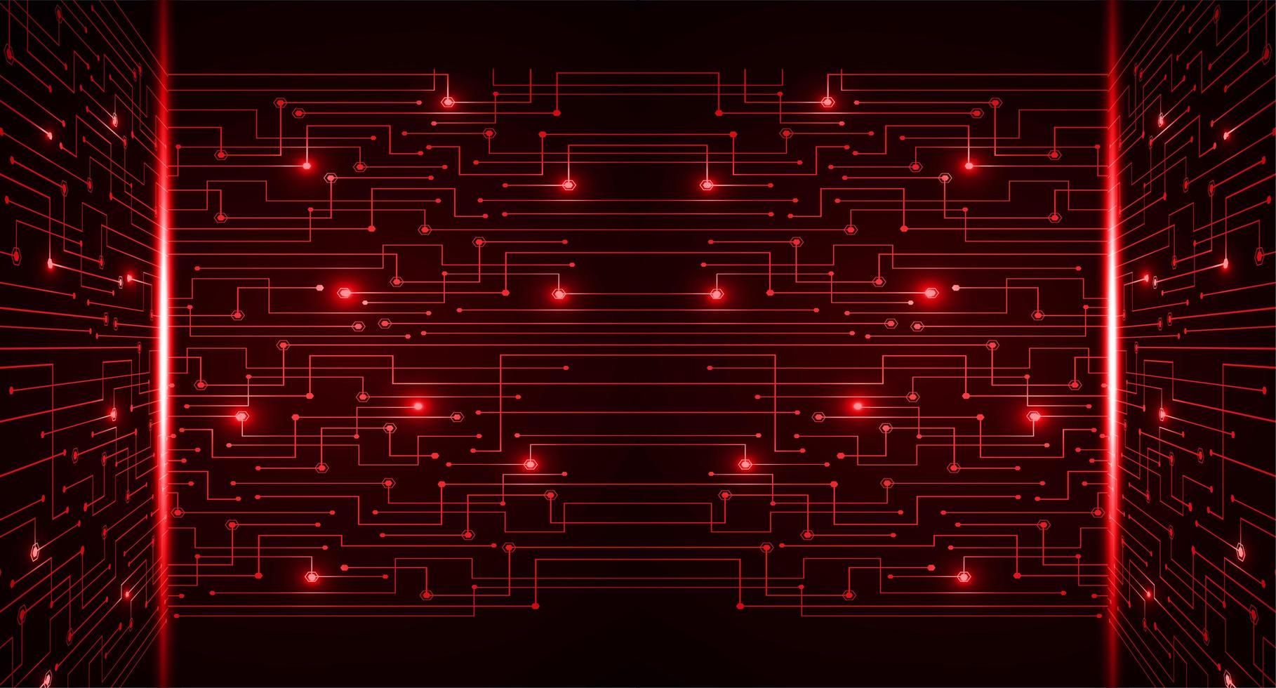 rode cyber circuit toekomstige technologie concept achtergrond vector