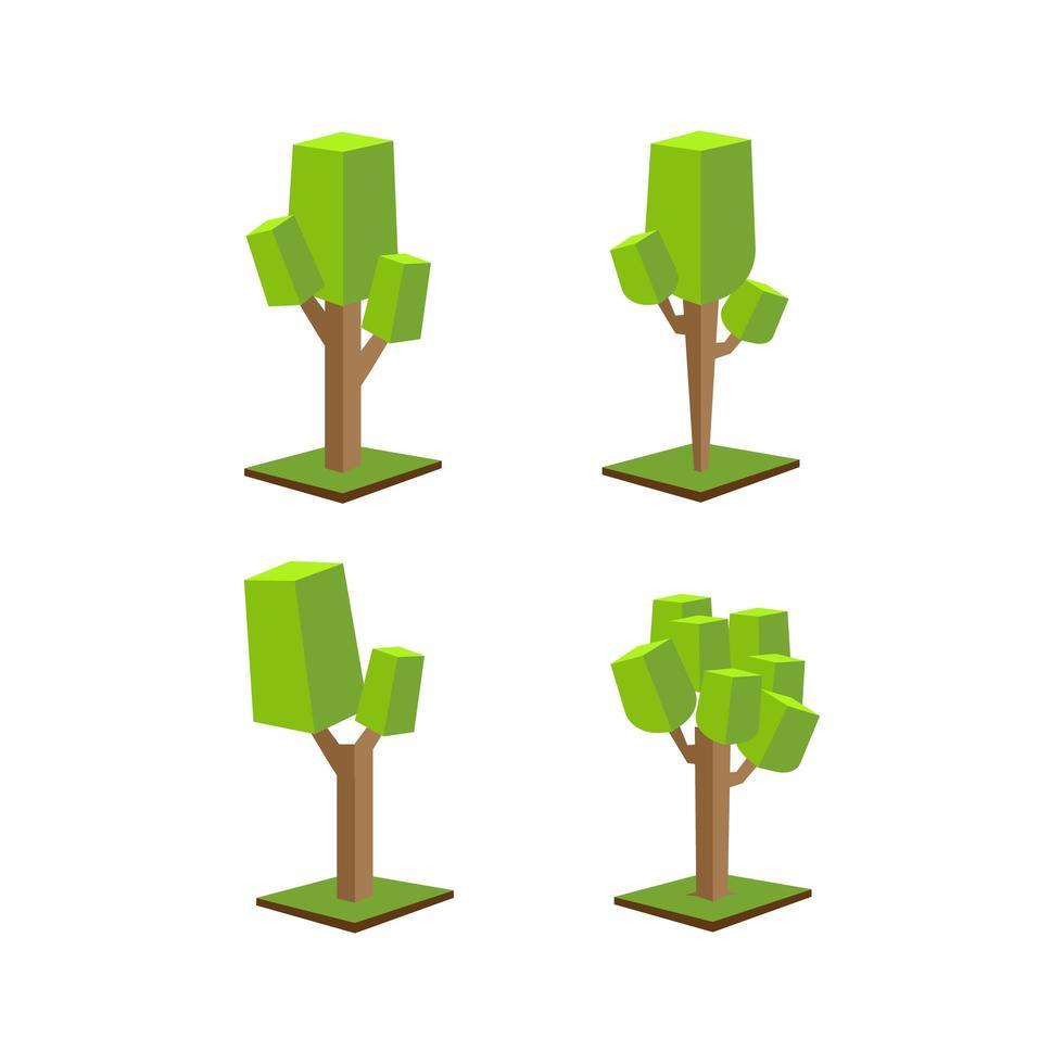 isometrische groene bomen icon set vector
